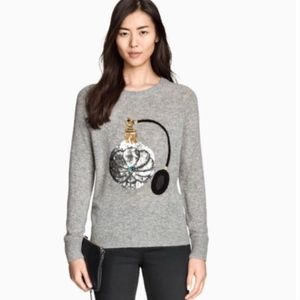 H&M Grey Sequin Perfume Bottle Holiday Sweater XS